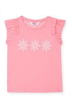 Primark - Roze shirtje met roze bloemen en strass
