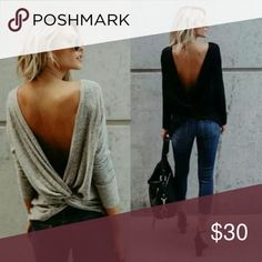 🌹LAST ONE🌹 Cotton/ spandex loose backless t-shirt. It is t-shirt material not sweater knit.  Great for back tattoos! Tops