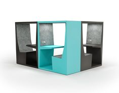 TUBE individual workstation is ideal as a drop-in workspace for both visitors and employees. Its open sides allow working while observing the surroundings.