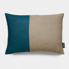 Color Block Teal Geometric Linen Throw Pillows   Modern Accent Pillows   Unison