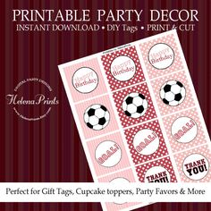 Soccer cupcake toppers Pink favor tags soccer by HelenaPrints