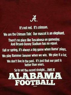 RTR!!!  This is Alabama Football!!!