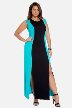 Plus Size Trista Color-Block Maxi Dress