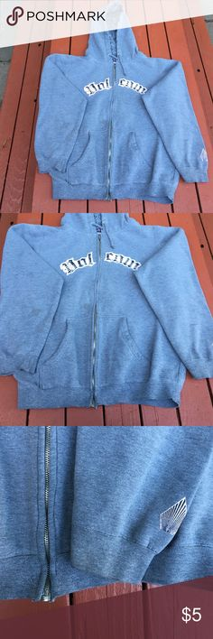 Volcom Stone Hoody Used sized large Volcom sweatshirt. Grey and light pink. Wear is in photos of stains, priced accordingly! Thick sweatshirt. Volcom Tops Sweatshirts & Hoodies