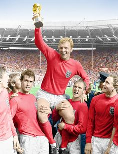England captain, Bobby Moore, is held shoulder high by his team-mates after England won The World Cup after beating West Germany 4-2 at Wembley in 1966.