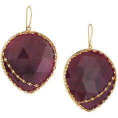 Lana 14k Heart Stone Red Sapphire Drop Earrings ($991) ❤ liked on Polyvore featuring jewelry, earrings, pink, flat earrings, 14 karat gold earrings, stone drop earrings, pink sapphire earrings and stone earrings
