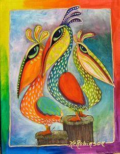 Pelicans - whimsical colorful KeROBinson Painting