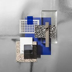 Material Mood Of The Week ~ Tableau. Mood Board Interior, Material Board, Interior Decorating, Interior Design, Modern Table, Blue Accents, Trendy Colors, Colour Schemes, Palette