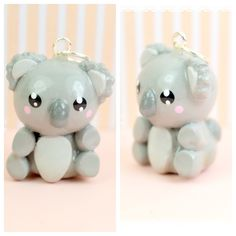 Mini Koala Bear Kawaii Charm Necklace Polymer Clay Jewelry Handmade by Sweet Clay Creations