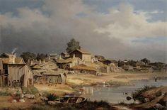 Magnus von Wright (1805-1868) Katajanokalta / View from Katajanokka (Helsinki neighborhood) 1868 - Finland - Finnish cow