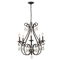 Portfolio Marimay 24.45-in 5-Light Dark Bronze Vintage Crystal Candle Chandelier #Portfolio