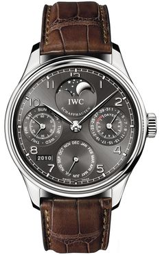 IWC Portuguese Grey Dial 18kt White Gold Brown Leather Automatic Mens Watch IW502307