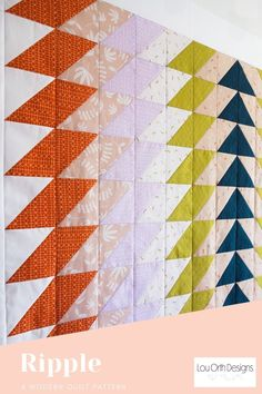 Bold modern quilt design. Easy and quilt quilt pattern #hst #modern #simple #quilt Triangle Quilt Pattern, Half Square Triangle Quilts, Square Quilt, Simple Quilt Pattern, Quilt Blocks Easy, Modern Quilt Patterns, Easy Quilts, Colorful Quilts, Small Quilts