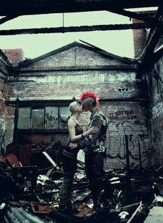 Punks kissing, mohawk, destroyed home, punk love, punk couple