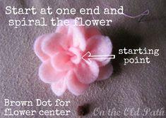 Felt flower #Tutorial #sew #DIY with pattern
