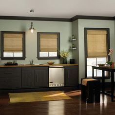 Levolor Natural Woven Wood Shades in Outrigger Natural. Woven Wood Shades combine the latest fabrics, textures, and patterns with exclusive, easy to operate light control options. Find them at Blinds.com.