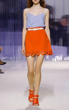 Sanguine Red Eyelet Mini Skirt  by CARVEN Now Available on Moda Operandi