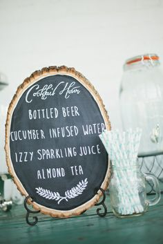 Cocktail Hour- Great ideas for wedding drinks.