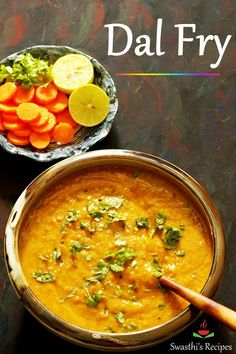 Dal fry is a simple Indian dish made with lentils aka dal and spices. This simple yet comforting dish is protein packed and tastes delicious. via Swasthi's Indian Recipes Tasty Vegetarian Recipes, Lentil Recipes, Veg Recipes, Curry Recipes, Indian Food Recipes, Dinner Recipes, Cooking Recipes, Healthy Recipes, Snacks Recipes
