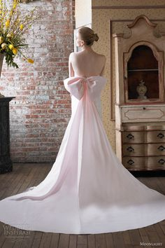 moonlight bridal wedding dress fall 2012 chantilly lace strapless trumpet blush pink gown train j6234