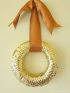 Autumn Gold Thumbtack wreath made from 6 inch foam wreath form and gold thumb-tacks
