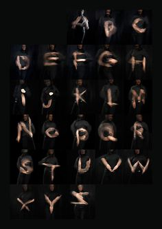 Long exposure hand waving alphabet