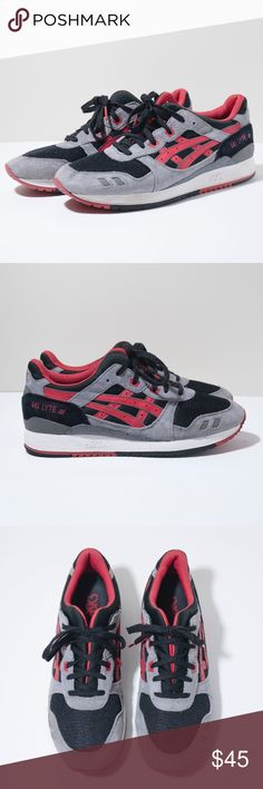 Asics Gel-Lyte III Black Grey Red Suede men shoes In very good condition, minimal signs of wear.  Size 11 Asics Shoes Sneakers