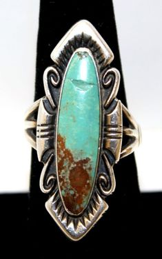 NICE LONG VINTAGE BELL TRADING POST SIGNED STERLING SILVER GREEN TURQUOISE RING!