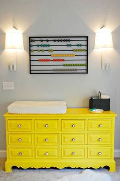 Love the yellow dresser for a changing table! !