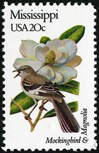 Mockingbird  Magnolia, a .20¢ Mississippi stamp issued in 1982