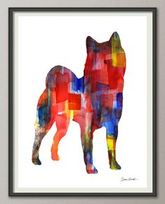 shiba inu art print watercolor print by MoondustGalleryArt