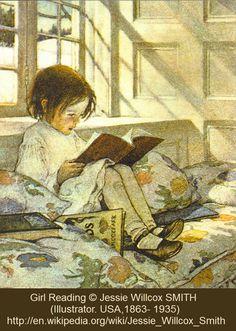 Girl Reading © Jessie Willcox SMITH (Illustrator. USA,1863- 1935). More on the artist:  http://en.wikipedia.org/wiki/Jessie_Willcox_Smith ... Winter's Day, Warm Sunlight, Shadows, Cozy window seat,  Little Girl, Books.
