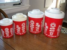 Red retro canisters