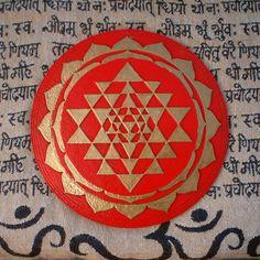 Red Tripura Sundari Shri Chakra Orgonite yantra energy generator