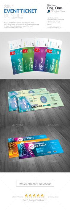 Event Ticket Bundle — Photoshop PSD #event ticket bundle #standard • Download ➝ https://graphicriver.net/item/event-ticket-bundle/19173883?ref=pxcr