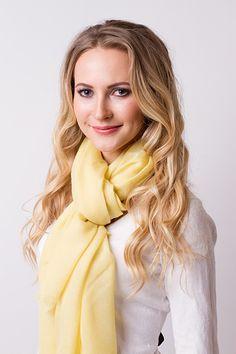 100% cashmere pashmina scarf - Yellow
