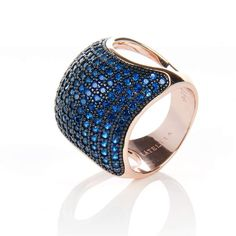 22ct Rose Gold Vermeil Micro pave Cushion Ring - Blue Zircon