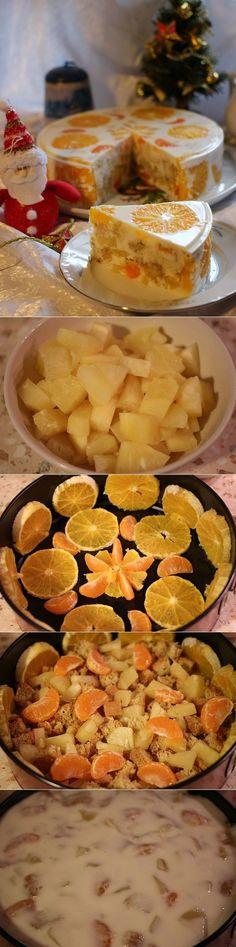Желейный торт «Фруктовый новый год» - рецепт на 7dach.ru
