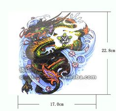 Large waterproof temporary tattoo stickers men sex products dragon from cloud fake tattoo body art makeup