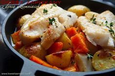 baked cod with potato + pumpkin.