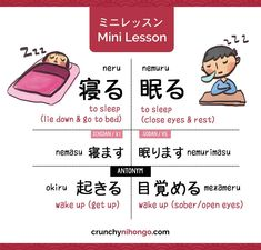 Crunchy Nihongo! — Did you know there are 2 type of sleep in Japanese...