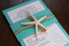 Beach Wedding Invitation, Birthday Party, Tropical Invite with Starfish, Coral… Quince Invitations, Quinceanera Invitations, Quinceanera Party, Beach Wedding Invitations, Birthday Invitations, Under The Sea Theme, Under The Sea Party, Cruise Wedding, Minion Party