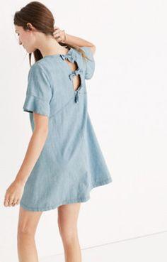 Khaki Cold-Shoulder Ruffle Dress : shopmadewell day-to-night dresses | Madewell