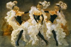 I was drawn by the festivness of the painting and how the shapes of the dancers creates aaction like painting.