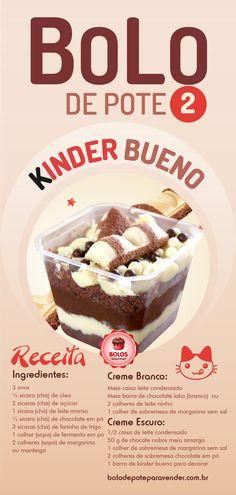 Kinder Bueno Pot Cake Recipe 2 - Step by Step Course, Sweet Recipes, Cake Recipes, Snack Recipes, Dessert Recipes, Cooking Recipes, Food Porn, Easy Smoothie Recipes, Coconut Recipes, Oreo