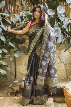 The beautiful and earthy texture of Tussar combined with intricate Kantha embroidery work. An ace of a black drape this! Don this compliment generating drape to your dinners and kittys to own your look.Pick one of the embroidery colors for a blouse pairing. A pink blouse, a blue blouse, a green blouse or even a striking black blouse to do the all black look