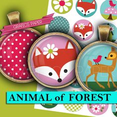 Digital collage sheet  Fox Forest  Cabochon by GraphicsPaper