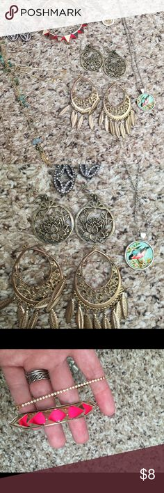 9 piece jewelry bundle bracelets earrings 3 pairs of earrings, 1 silver ring size 6.5, one bird necklace, 1 fleur-de-lis necklace, one beaded green/blue tassel necklace, one pave tennis bracelet, one studded bangle Lucky Brand, simply vera Jewelry Earrings