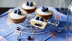 The Great British Bake Off | Mini blueberry Bakewell tarts Bakewell tarts given a twist by using blueberry jam rather than the more conventional raspberry. Apricot jam would work well, too.