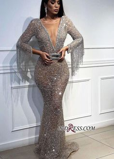 Sexy Mermaid Sequins Deep V-Neck Sleeves Floor-Length Prom Dress with Tassels - Abschlussball Kleider Elegant Dresses, Sexy Dresses, Beautiful Dresses, Fashion Dresses, Formal Dresses, Casual Summer Dresses, Long Dresses, Cheap Dresses, Prom Dresses With Sleeves